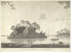 'The Fakeer's Rock near Monghyr'.  Drawn and engraved by James Moffat, published Calcutta, 1800